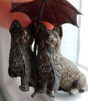 Miniature Spelter Object De Vertu , Bijoux Pair Cats Under Umbrella (to Restore -  - ebay.co.uk