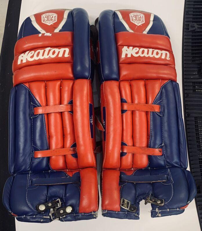 "Vintage Heaton Pro 90Z Goalie Hockey Pads 31"" Red & Blue Used"