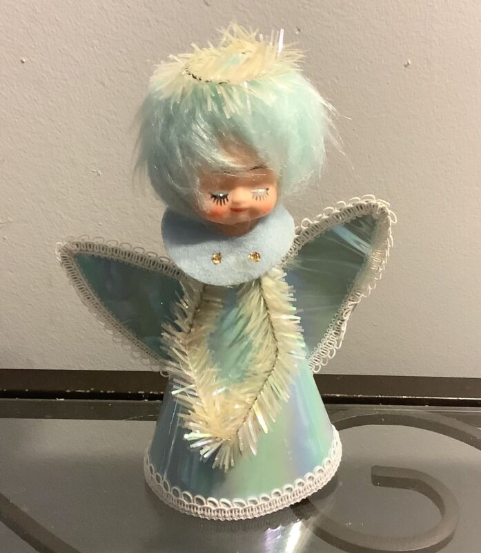 "Vintage Japan Cardboard Christmas Tree Topper Blue Angel 7"" Tall"