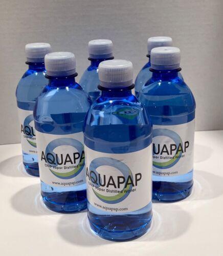 "AQUAPAP VAPOR DISTILLED WATER 6X12OZ BOTTLES (6 PACK) ""NEW"" FIRST QUALITY"