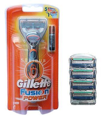 Gillette Fusion Power Rasierer + 4 Fusion im Blister = 5 Klingen im Set Gillete