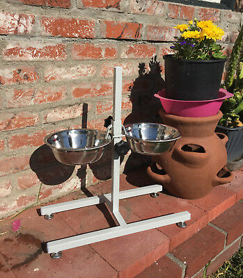 NEW Double Hi-Raised Iron Dog Iron Stand With Double Stainless Steel Bowls 148