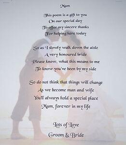 Personalised Mother Of The Bride Keepsake Poem A4
