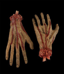 Life-Size-Realistic-Dead-Body-Parts-SEVERED-BLOODY-HANDS-Halloween-Prop-Building