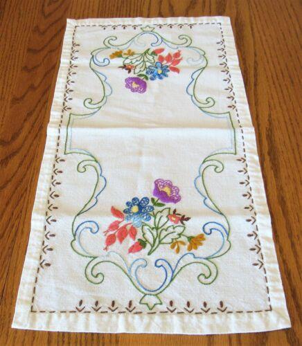 """Vintage Hand Embroidered Crewel Floral Linen Vanity Dresser Table Runner 11""""x20"""""""