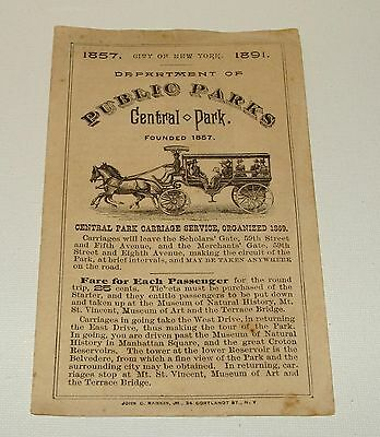 Orig 1891 Central Park   City Of New York  Brochure   Carriage Service   Obelisk