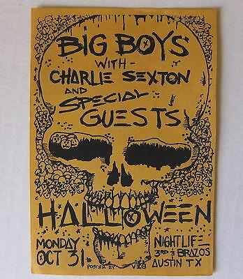 BIG BOYS Halloween 1983 PUNK Concert Flyer @ Nightlife AUSTIN Charlie Sexton - Halloween Concert Flyer