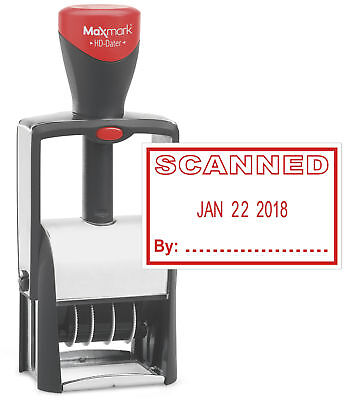 Heavy Duty Date Stamp With Scanned Self Inking Stamp - Red Ink