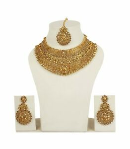Indian Fashion Jewelry Wedding Earrings Necklace Gold Bridal Traditional Set