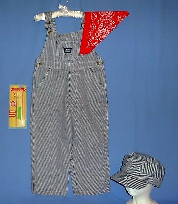 Striped Overalls Conductor Railroad Kids 8-10;Engineer Hat Bandanna Whistle LOT