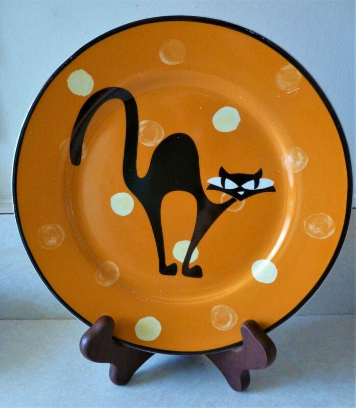 "Black Cat Stylized Modern 8"" Plate Halloween Cat Arched Back Big Eyes Porcelain"