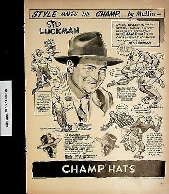 1946 Champ Hats Sid Luckman Vintage Print Ad 4624