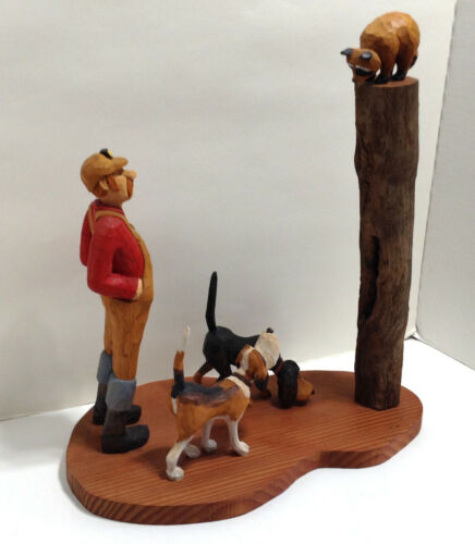Hand Carved Wood Hound Dogs Raccoon Coon Hunter Tree Stump Tall 15 3/4""