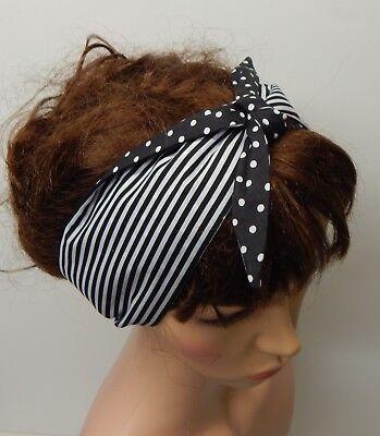 Self tie reversible women headband retro 50's head wear rockabilly head scarf
