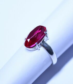 European Lab Created Ruby in a Sterling Silver (925) Ring