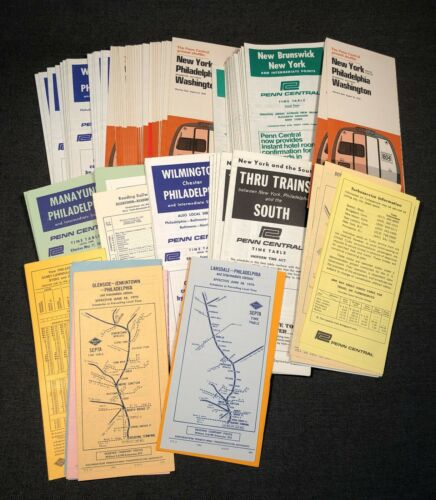 100 Mixed Railroad RR Time Tables PENN CENTRAL and READING with Duplicates