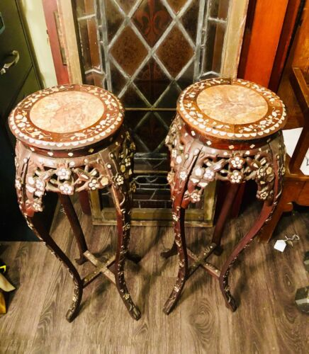 ANTIQUE Vintage Chinese Rosewood inlaid mother of pearl PLANT STANDS - beauty !