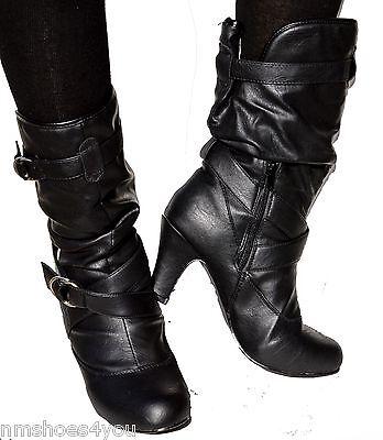 Kitten High Heel (New Women High Heel Faux Leather Slouch Kitten Mid Calf Dress Boots Black Ladies)