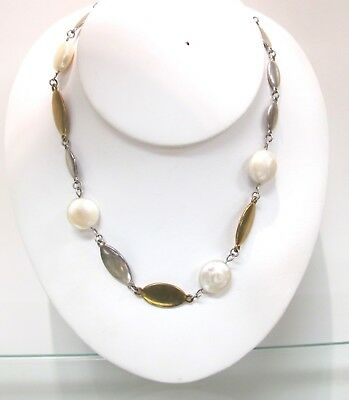 RIM Studio Sterling Silver, Brass, and Pearl Ladies Necklace