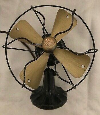 """Antique 1920s Polar Cub Fan, Type H electric cast iron art deco, 7"""" Works!"""