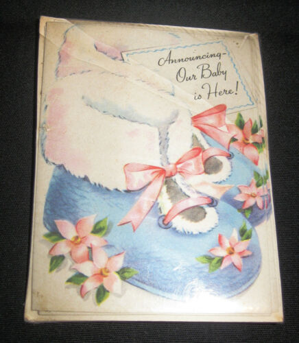 Vintage Sterling Baby Boy Birth Announcement Cards Envelopes 5