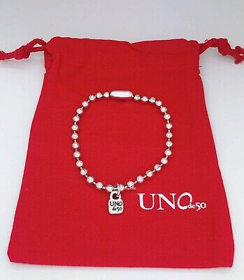 New Uno De 50 Silver Tone Beaded Chain Emotion logo Padlock Bracelet  Beaded Silver Tone Chain