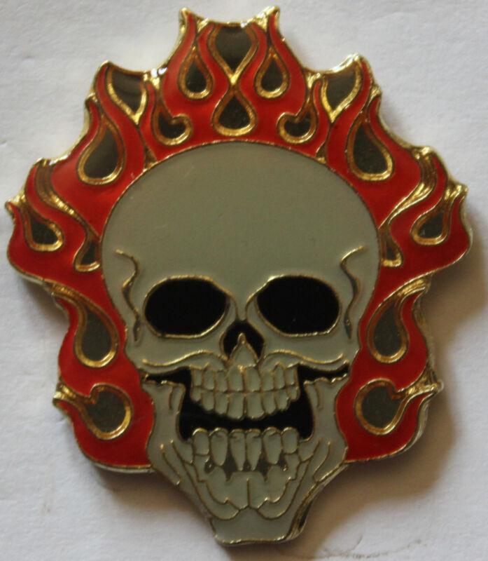 New Flaming Skull Lapel Hat Pin Fire Rebel Biker Tie Tack White Orange
