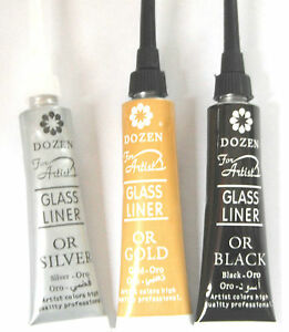 GLASS AND CERAMIC OUT LINER- GOLD,SILVER,BLACK, glass paint outliner