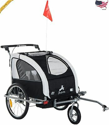 360 Swivel 2-in-1 Double Child Two-Wheel Bicycle Cargo Trailer Jogger 2 Safety