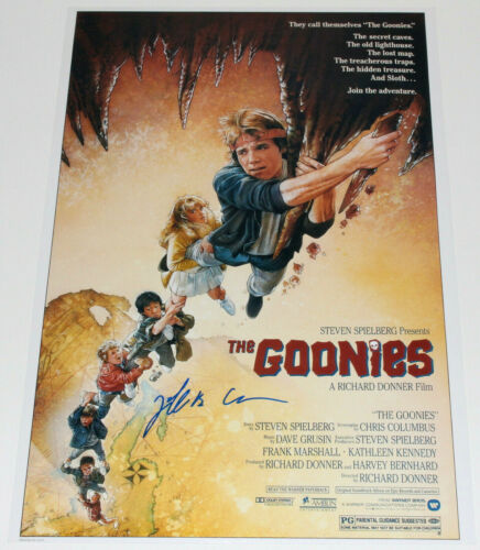 JEFF COHEN CHUNK SIGNED AUTHENTIC 'THE GOONIES' 12x18 MOVIE POSTER w/COA PROOF