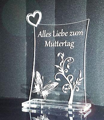 Zum Muttertag, Acrylglas Schild mit Herz, Geschenk, Gravur, Lasergravur
