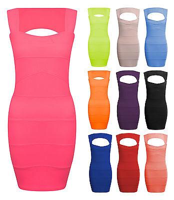 Womens Ladies Sleeveless Pleated Rib Bandage Bodycon Stretch Mini Party Dress