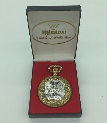 Vintage Majestron buck stag deer pocket watch with chain in box