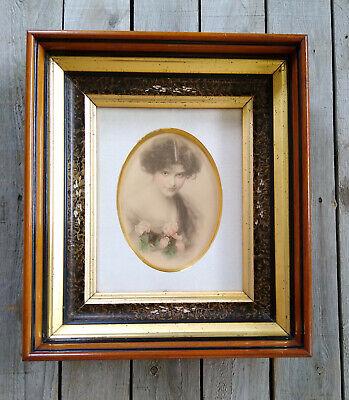 Antique Victorian Eastlake Deep Walnut Gold Gilt 8x10 Picture Frame & Portrait
