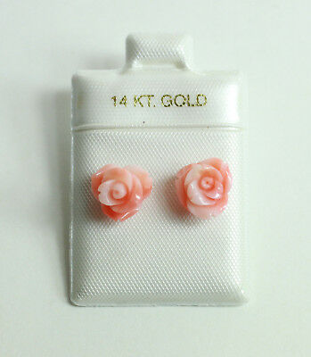 Gold Coral Rose (14K Yellow Gold Genuine Pink Coral Hand Carved Rose Flower Stud Earrings)
