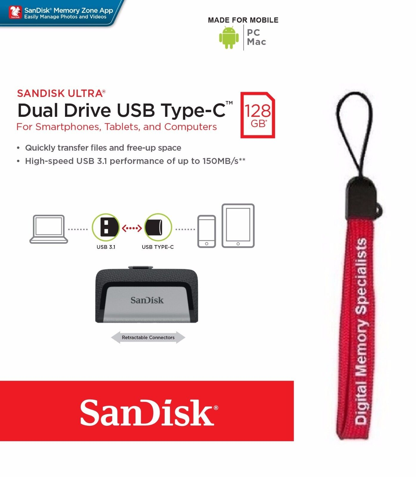 SanDisk 128GB Ultra Dual USB TYPE-C 128G USB 3.1 Pen Drive S