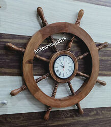 Boat Ship Captains Nautical Ship Wheel Porthole Wall Clock Watch Steering Wheel