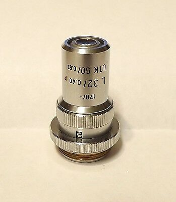Leitz L 32x Utk Microscope Objective Lens For Universal Stage P Pol Iris Lwd