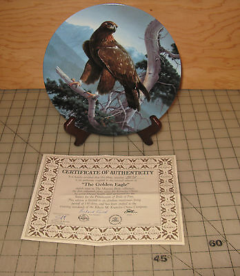1990 THE GOLDEN EAGLE Birds of Prey Collector Plate with COA