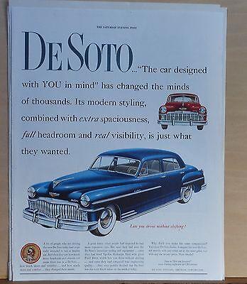 1949 magazine ad for DeSoto - blue Custom, Modern Styling, spaciousness