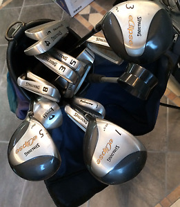 2+ sets of Left handed golf clubs, 3 bags, pull cart, etc