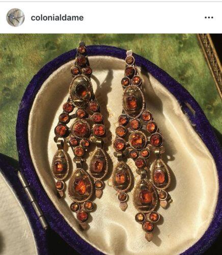 RARE Antique 19th century spinel or hessonite garnet Iberian Earrings Spain 18k