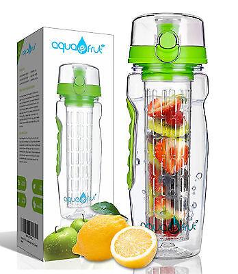 AquaFrut 32oz Fruit Infuser Water Bottle (Green) with Bonus Brush! USA Seller!