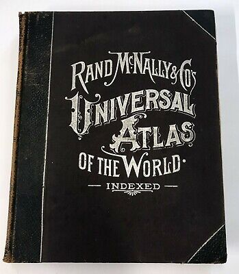 Antique 1898 Rand McNally Universal Atlas of the World Antique Maps Book