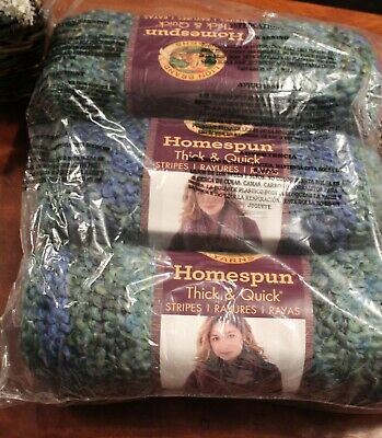 NEW Lion Brand Homespun Thick Quick Yarn LOT of 3 Lakeside Stripes Super Bulky