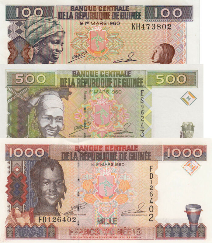 Guinea 3 Note Set: 100, 500 & 1000 Francs (1998) p35a, p36 & p37