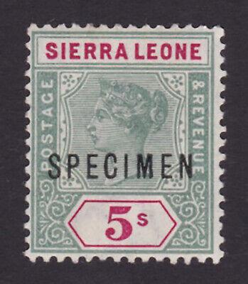Sierra Leone. SG 52s, 5/- green & carmine, specimen. Fine mounted mint.