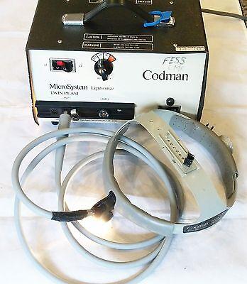 Codman Surgical Microsystem Twin Beam Lightsource W Helmet Fiber Optic Cable