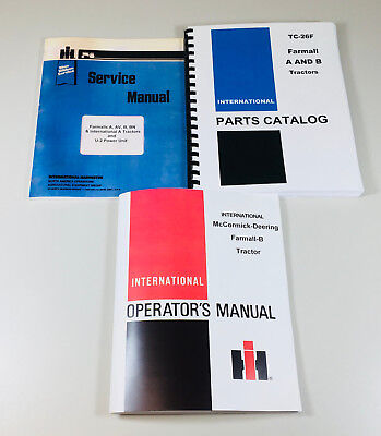 Farmall Intrenational B Bn Tractor Service Repair Shop Parts Operator Manual Set