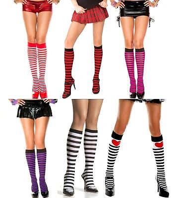 STRIPED OPAQUE Knee High Stockings O/S - 6 Color Combinations
